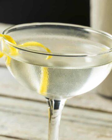Homemade Alcoholic lemon Martini with a Lemon Twist