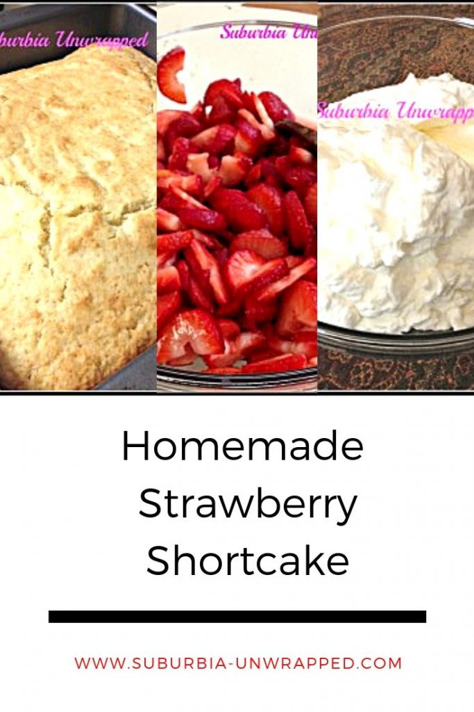 collage of shortcake images.  biscuits, strawberries and whipped cream