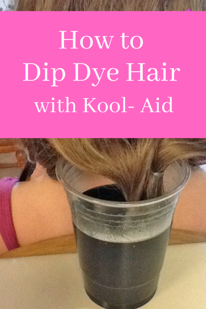 Teenage girl dying her hair tips with Kool-Aid hair dye
