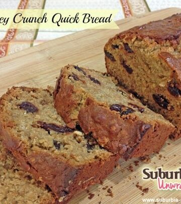 honey crunch quick bread with banner