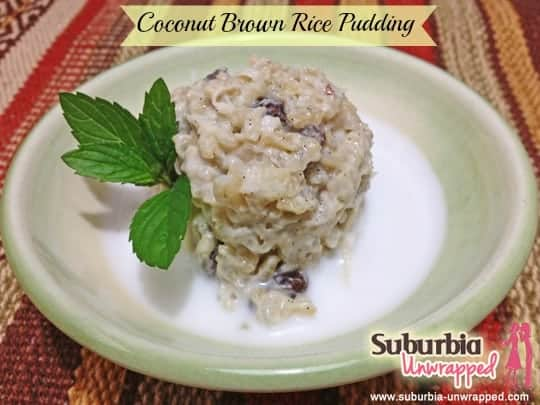 coconut brown rice pudding with banner