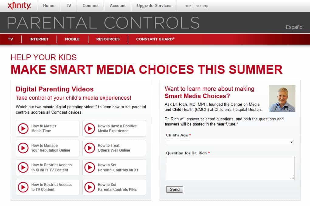 comcast xfinity parental controls