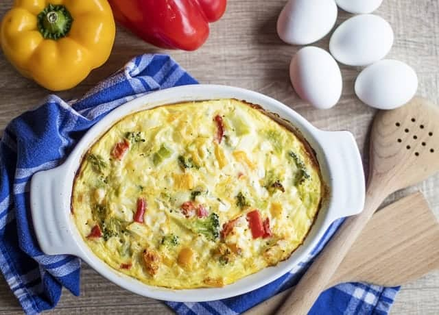 breakfast casserole with eggs and vegetables