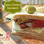 spicy chicken sandwich with banner