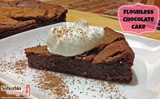flourless chocolate cake recipe with banner