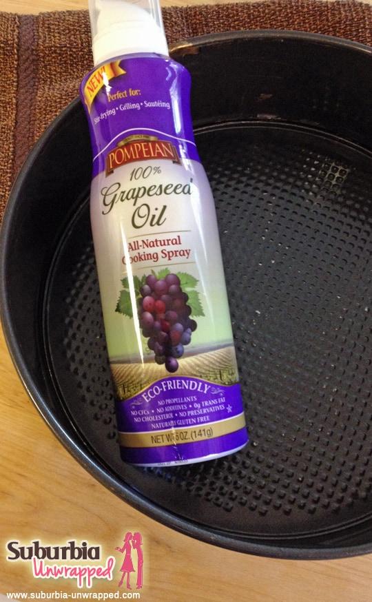 flourless chocolate cake using pompeian grapeseed oil spray