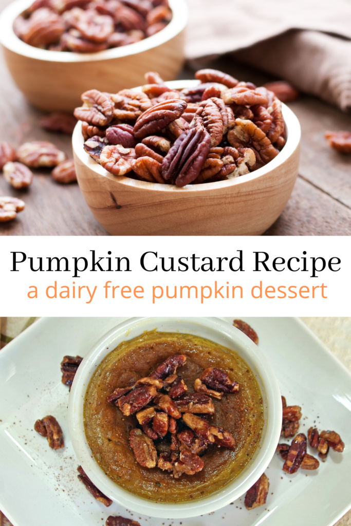 collage of fresh pecans and Pumpkin Custard in a white bowl