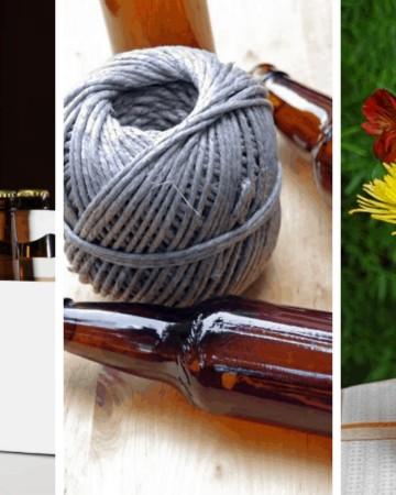 collage of beer bottle flower vase directions