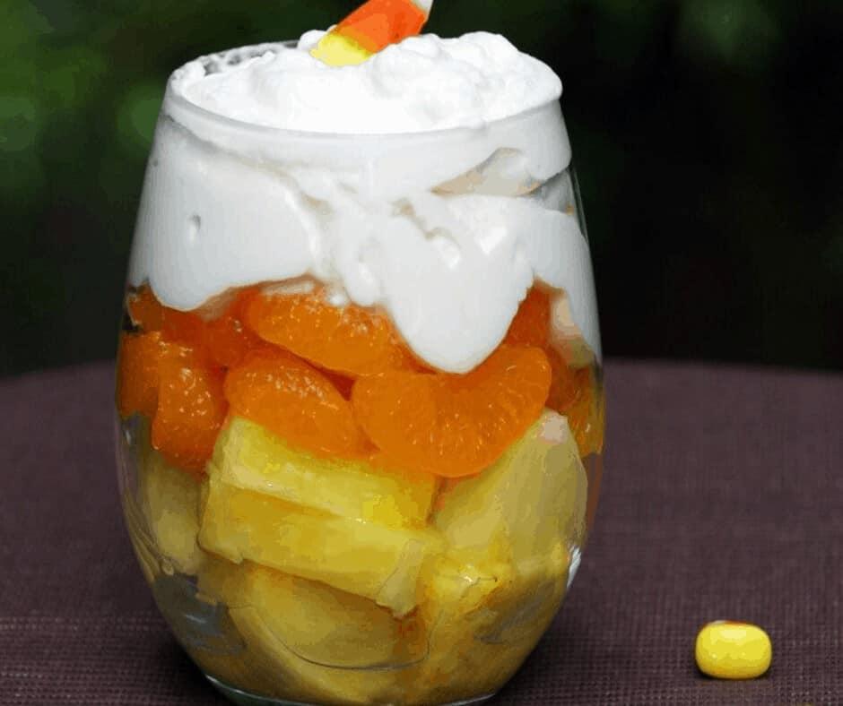 Candy Corn Fruit Parfait for Halloween
