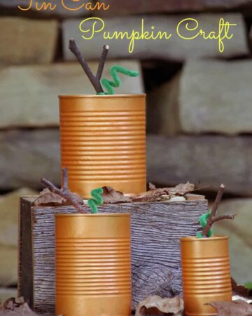 Tin Can Pumpkins make an easy fall craft!