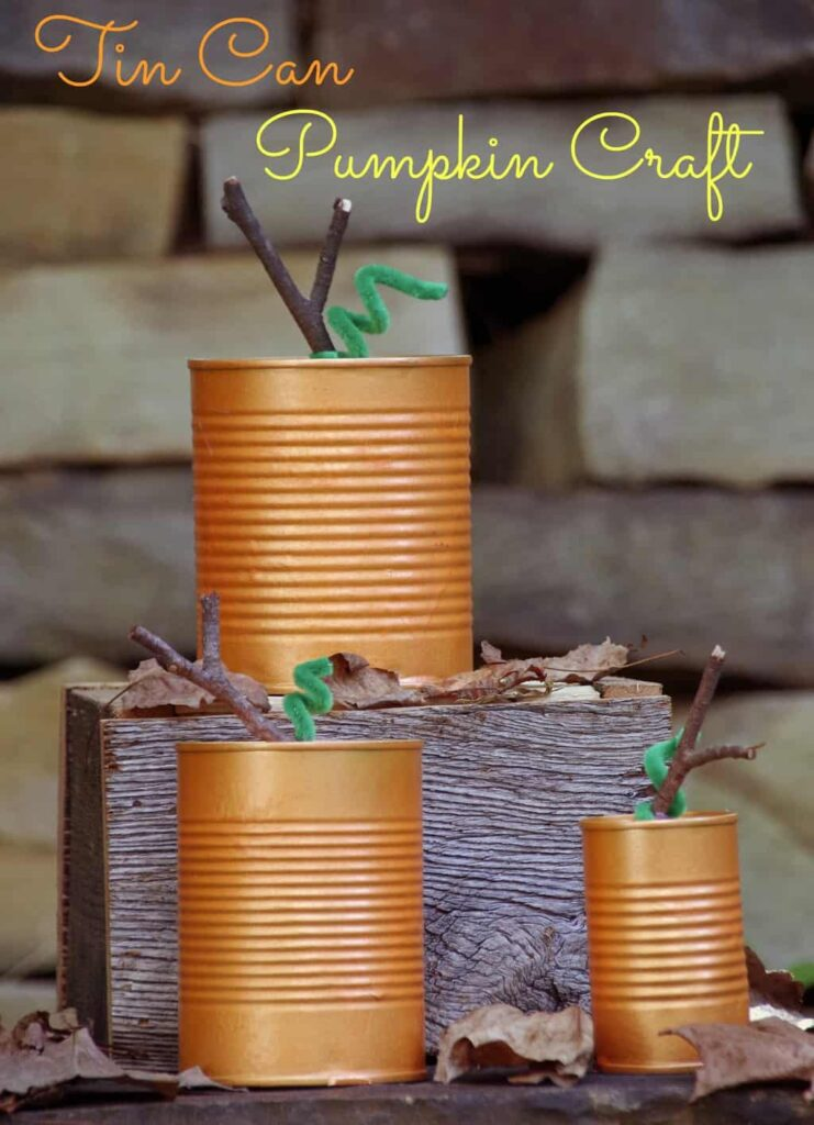 Tin Can Pumpkins make an easy fall craft!