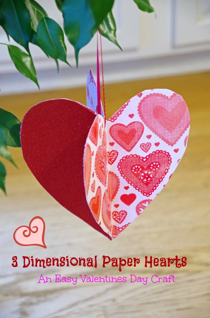 This easy Valentines Day craft idea is fun for both adults and kids. 3 Dimensional paper hearts make a simple Valentines Day decor idea that will bring a bit of whimsy into your house!