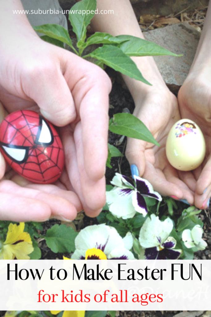 teens holding easter eggs over spring flowers