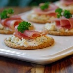 Boursin and Prosciutto Topped Crackers are an Easy Appetizer Recipe #BoursinCheese