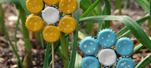 Easy Earth Day Craft: Bottle Cap Garden Art