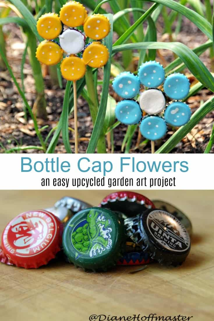 Have too many bottle caps?  Upcycle them into DIY frugal garden art! Learn how to make bottle cap flowers for an easy recycled craft idea!