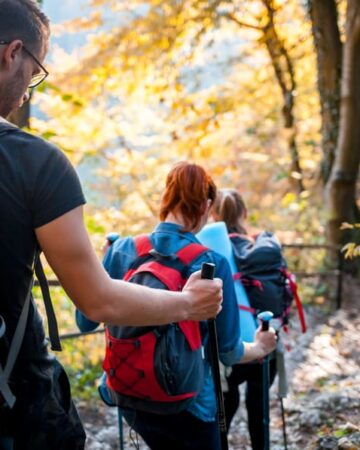 family hiking together in the woods with teenagers