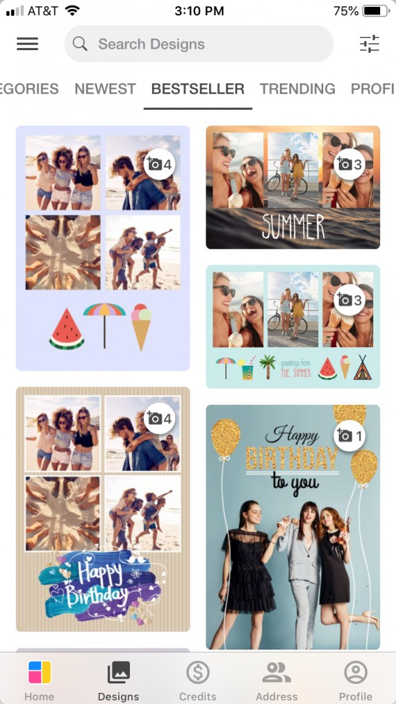 screenshot from personalized photo postcard app Mypostcard