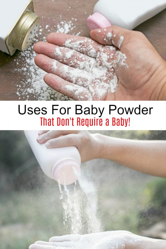 baby powder on a hand