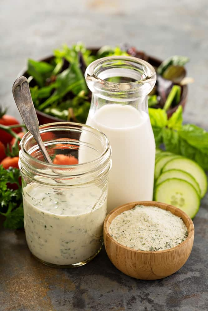Making ranch dressing from a dry mix with buttermilk