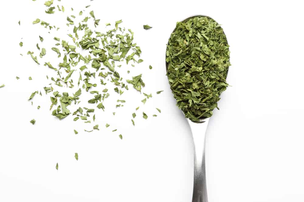 Parsley Flakes on spoon