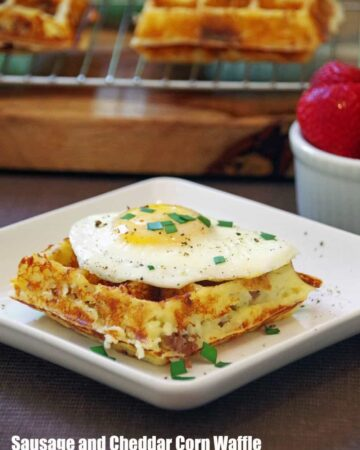Sausage Cheddar Corn Waffle Recipe is an easy and delicious savory waffle recipe for sunday brunch