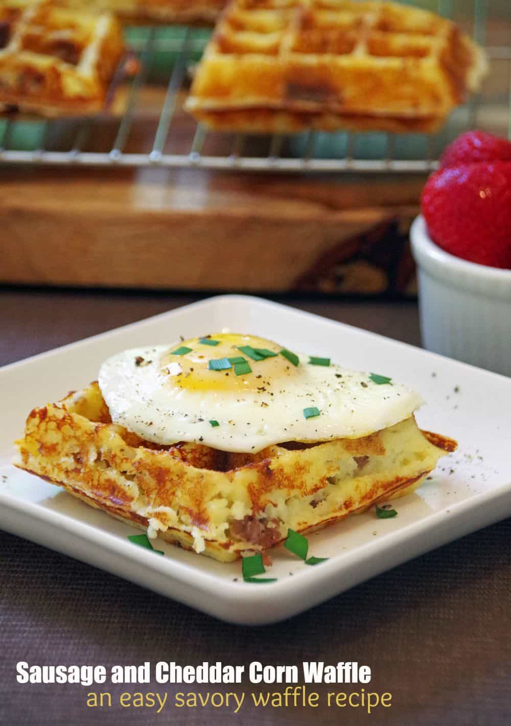 Sausage Cheddar Corn Waffle Recipe is an easy and delicious savory ...