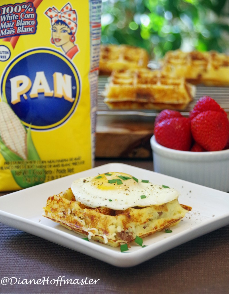Sausage Cheddar Corn Waffle Recipe with PAN cornmeal is a delicious and easy brunch recipe