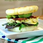 Breakfast Stuffed Arepa Recipe with Egg, Bacon, Avocado and Baby Greens
