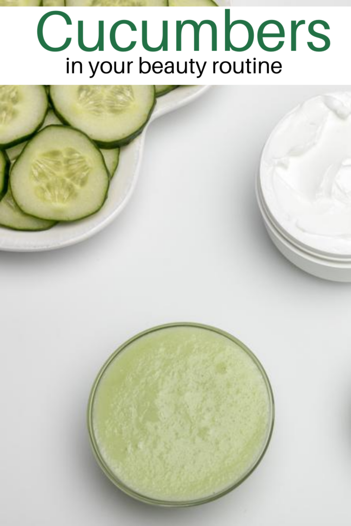 cucumber slices, cucumber face mask and lotion on white background