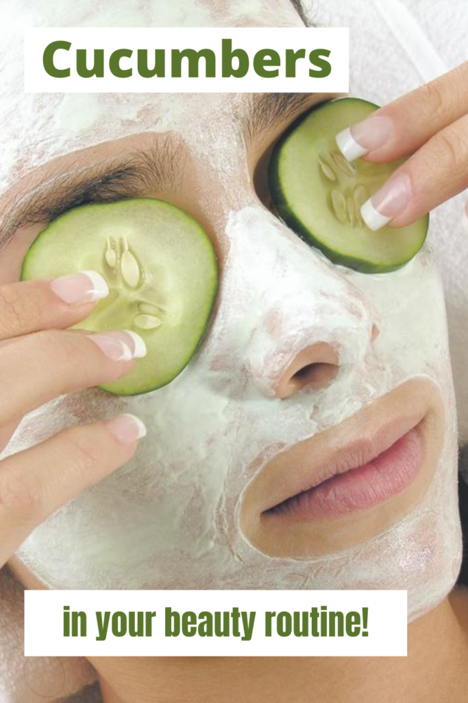 woman with cucumber mask and cucumber slices on eyes