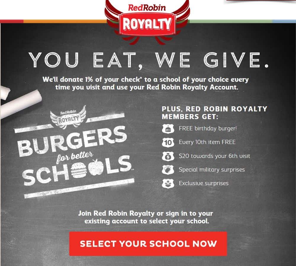 Red Robin Restaurant Reward Program