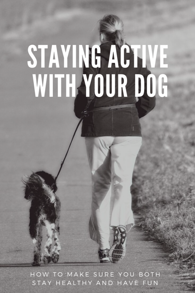 Woman and dog running on path and Staying Active with Your Dog