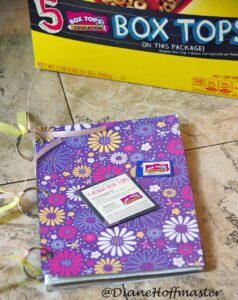 Upcycled Scrapbook for Box Tops for Education