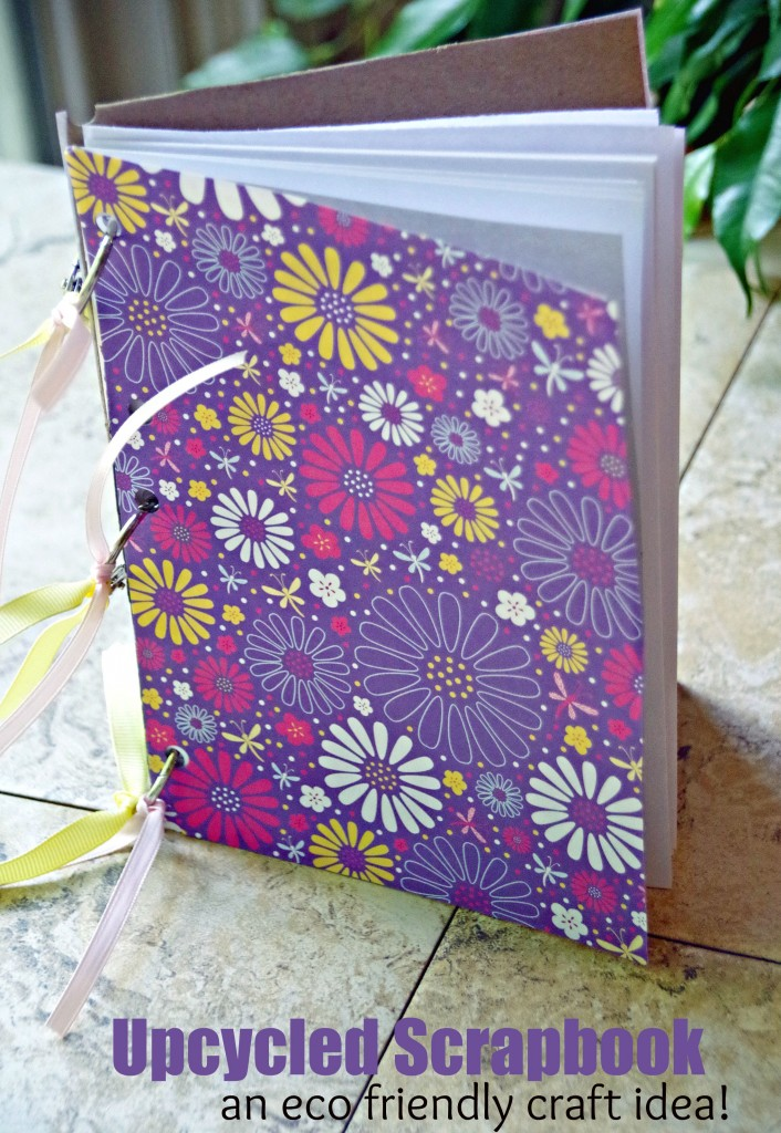 Upcycled Scrapbooks are an eco friendly way to keep your memories organized! And easy craft idea for kids and adults.