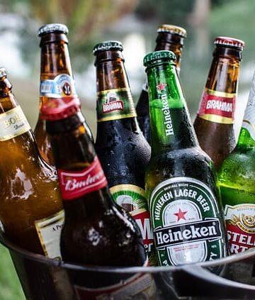 beer bottles in a bucket