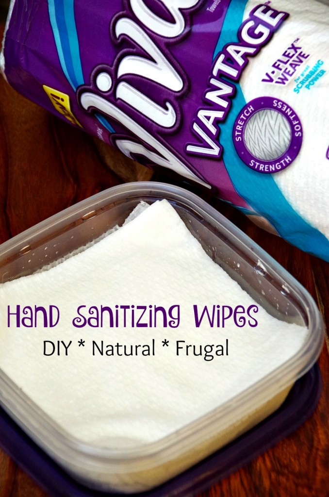 DIY hand sanitizing wipes are a frugal way to keep your hands clean without the chemicals found in most hand cleaning products.