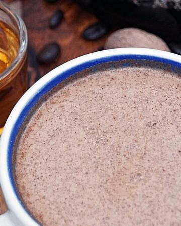 eggnog latte in a coffee mug