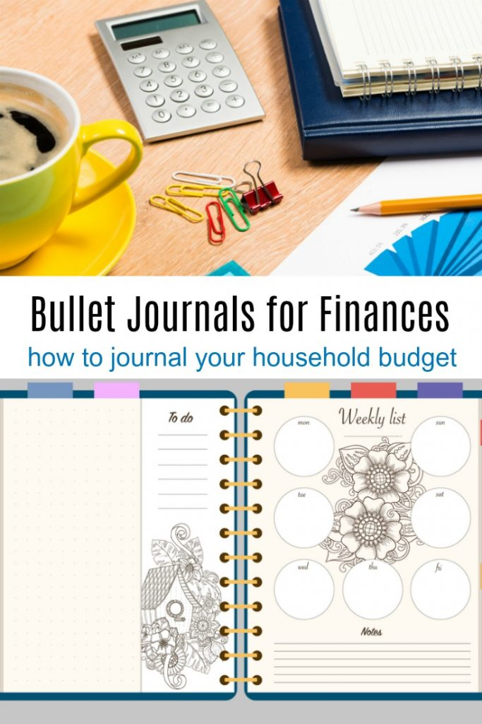 collage of calculator and office supplies with bullet journal with text overlay 'bullet journal for finances'