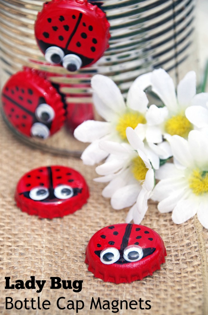 bottle cap lady bugs on a tin can
