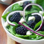 Basil and Spinach Salad with Blackberries and Feta