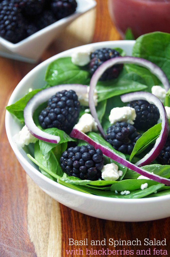 Basil and Spinach Salad Recipe with Blackberries and Feta