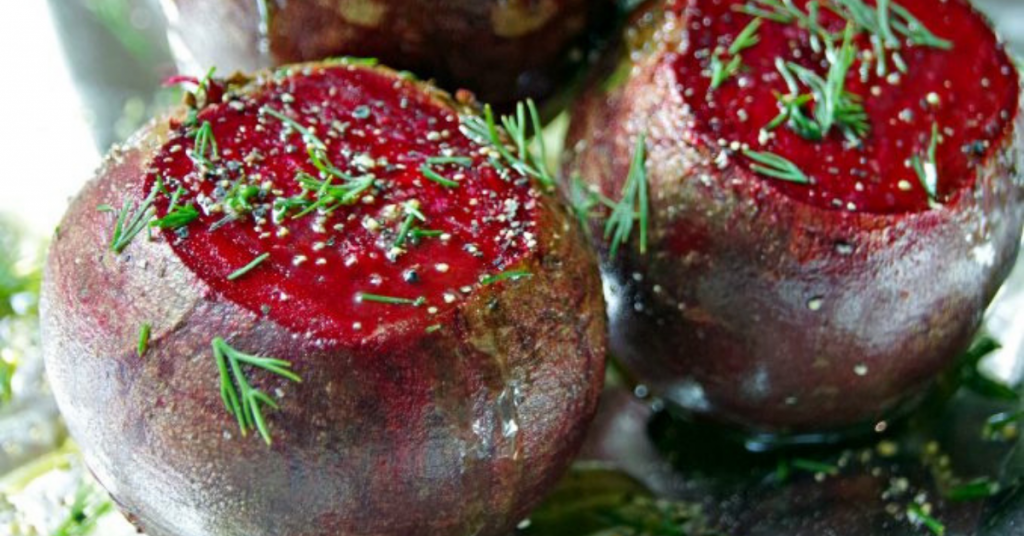 Roasting beets in foil with fresh herbs