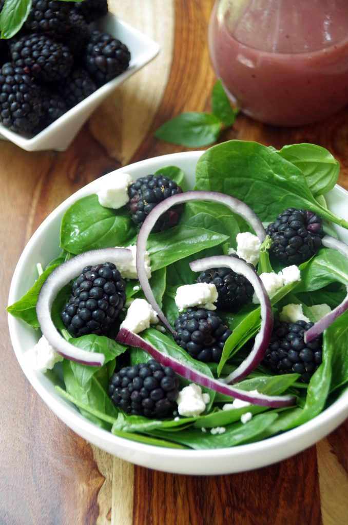 Spinach and Basil Salad with Feta and Blackberries