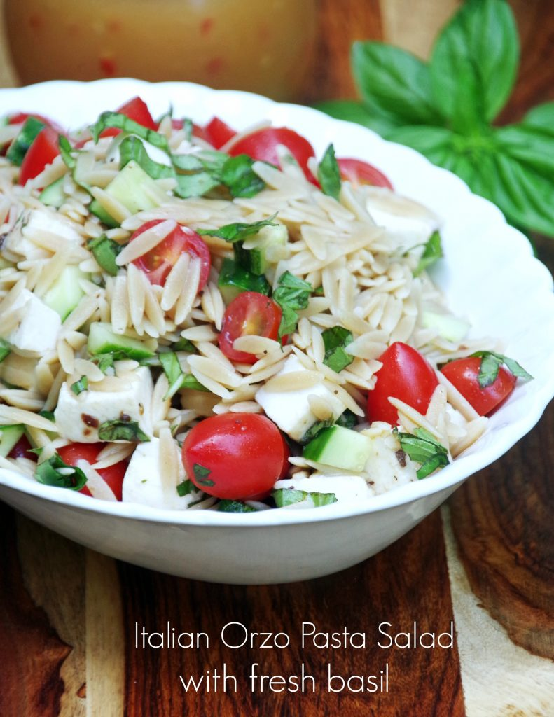 Easy Italian orzo pasta salad recipe with fresh basil