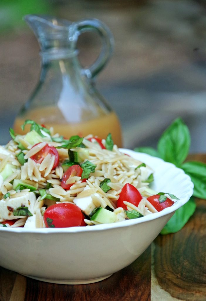 Orzo pasta salad recipe with fresh basil