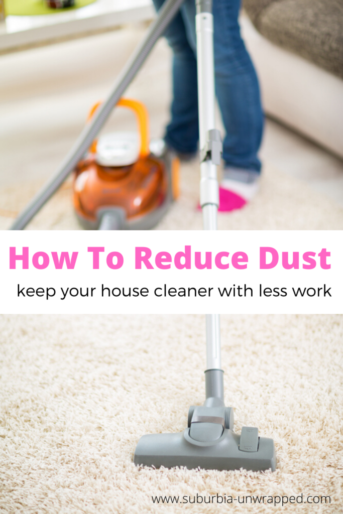 Person vacuuming carpet with text How To Reduce Dust And Keep Your House Cleaner