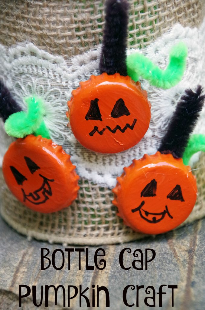 Easy Bottle Cap Pumpkin Craft is Awesome Fun for Everyone!