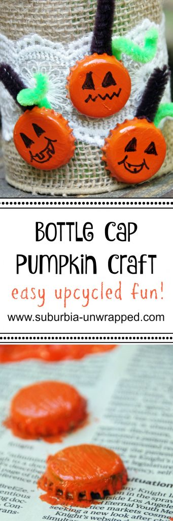 Easy pumpkin craft with bottle caps