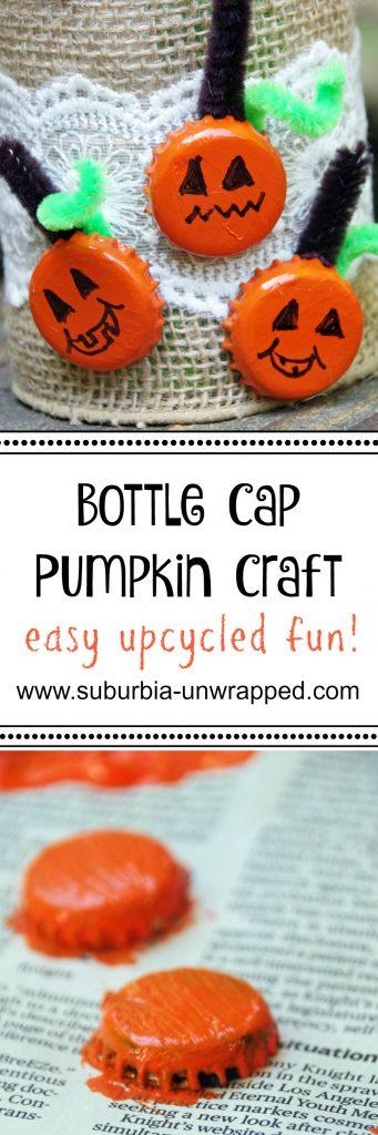 Easy pumpkin craft with bottle caps